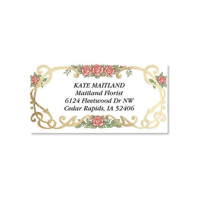 Rose Grandeur Foil Border Return Address Labels
