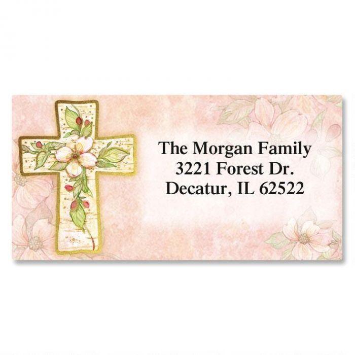 Flowers of Faith  Foil Border Return Address Labels