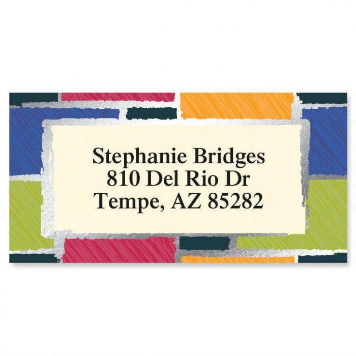 Patchwork  Foil Border Return Address Labels