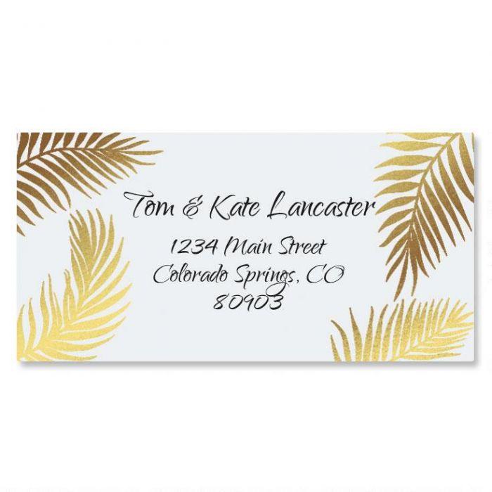 Golden Palms Foil Border Return Address Labels