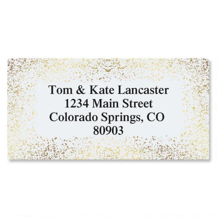 Gold Speckles Foil Border Return Address Labels