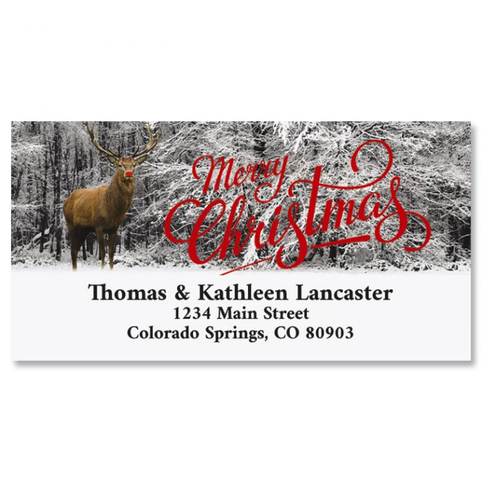 The Famous Reindeer Foil Deluxe Return Address Labels