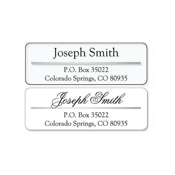 Return Address Label with Silver Foil Accent Line