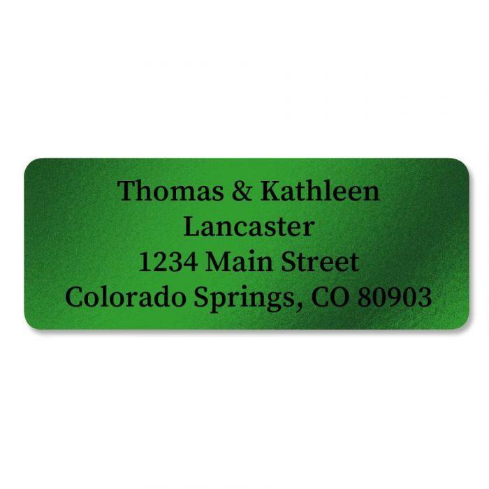 Green Foil Return Address Labels