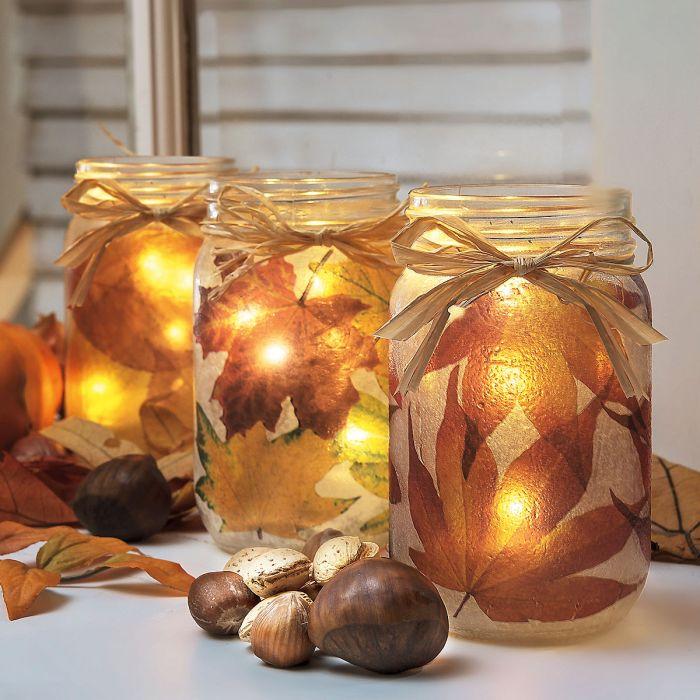 Autumn Leaves Mason Jar Light