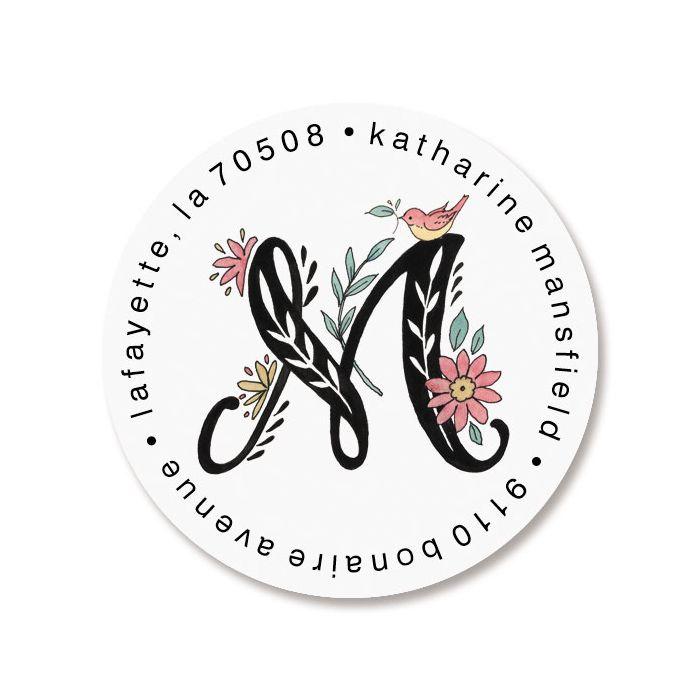 Floral Monogram Round Return Address Labels