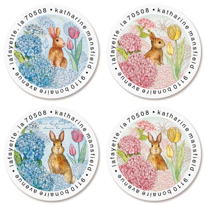Bunnies in the Garden Round Return Address Labels (4 Designs)