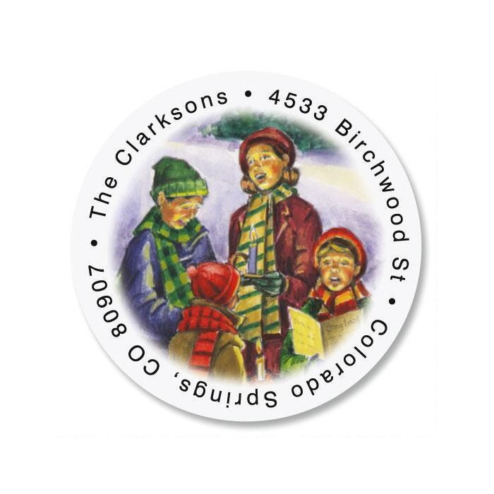 your neighborhood christmas round return address labels colorful