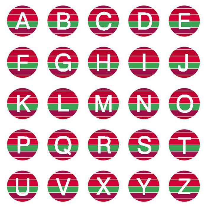 Christmas Stripes Initial Round Return Address Labels
