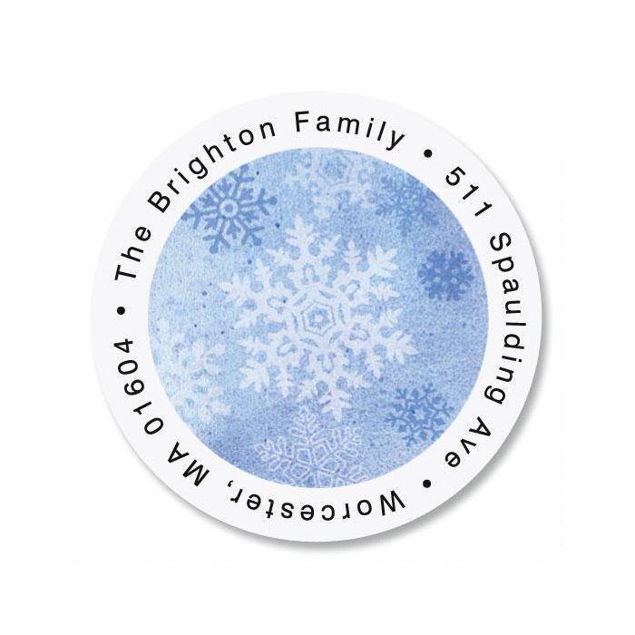 Glistening Snowflake Round Return Address Labels