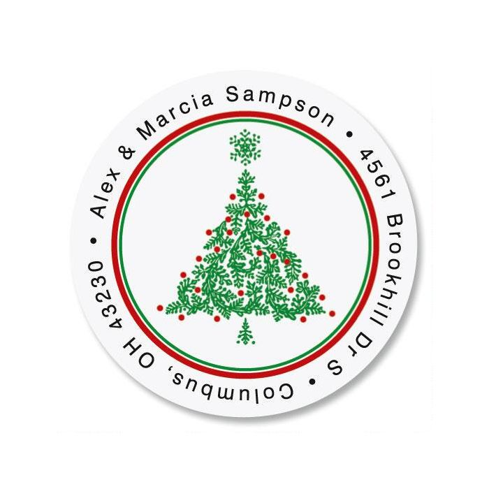 Christmas Tree  Round Address Labels