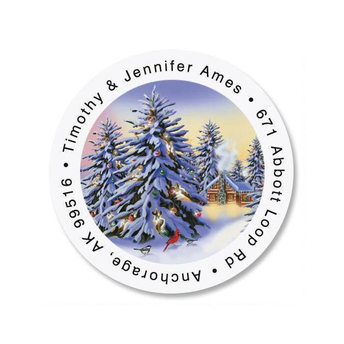 Snowy Trees Round Return Address Labels