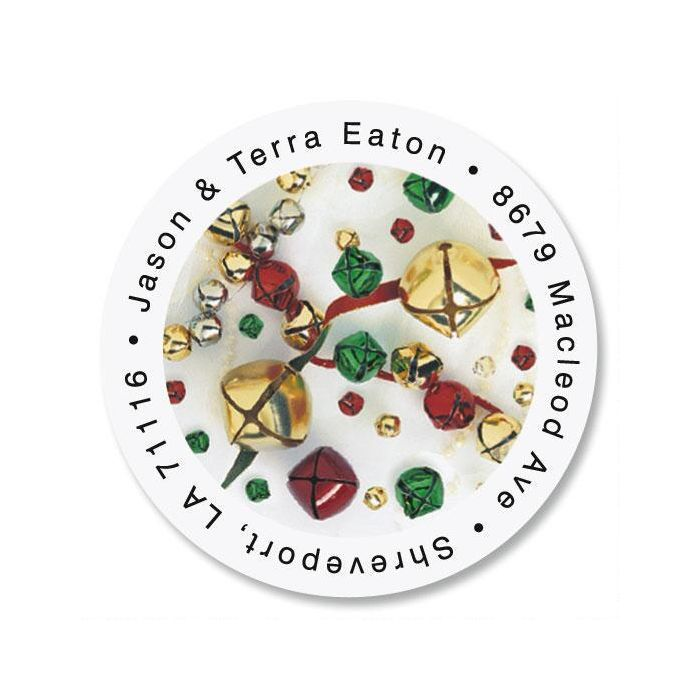 Jingle Bells Round Return Address Labels