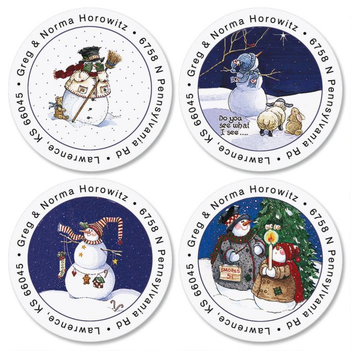 Sandi's Snowmen  Round Return Address Labels  (4 Designs)