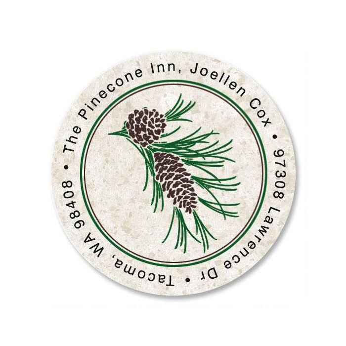 Pinecone  Round Return Address Labels