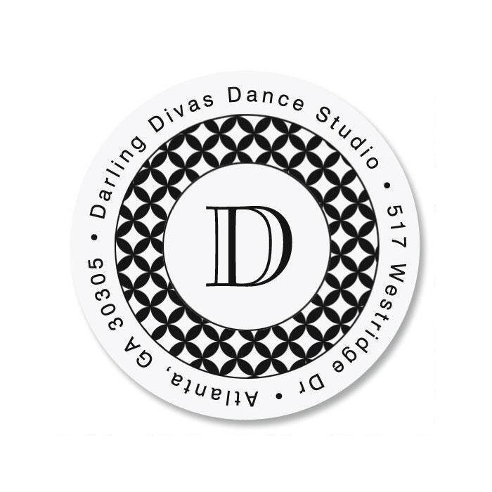 Glamour Initial Round Return Address Labels