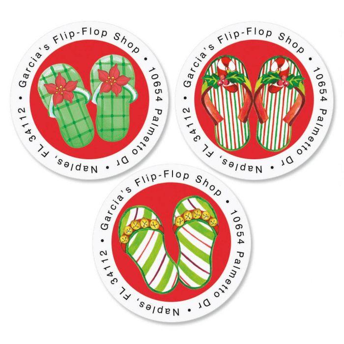 Christmas Flip-Flops Round Return Address Labels   (3 Designs)