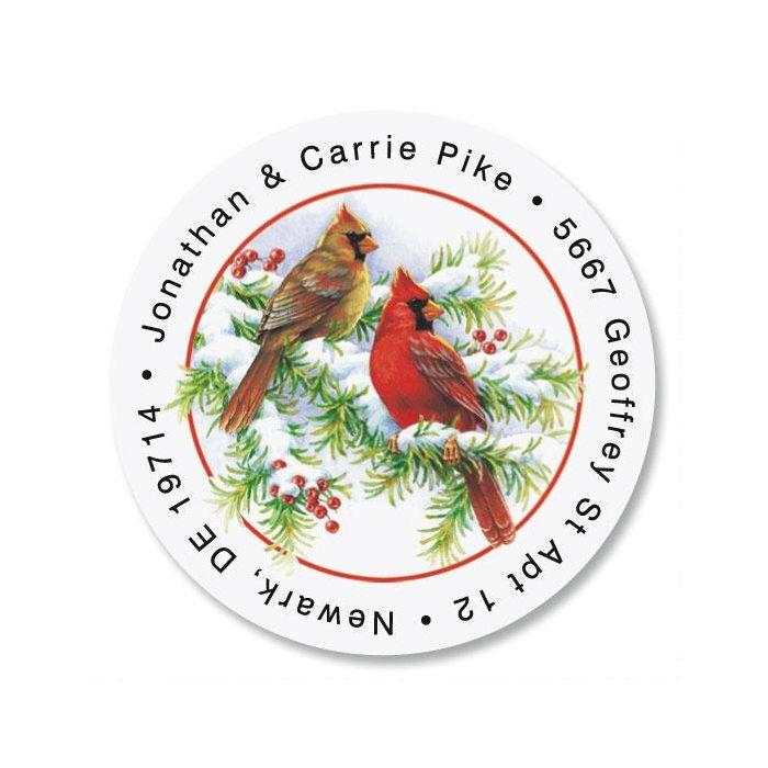Cardinals Round Christmas Address Labels