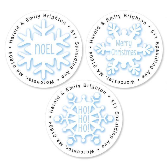 Snowflakes Round Return Address Labels   (3 Designs)