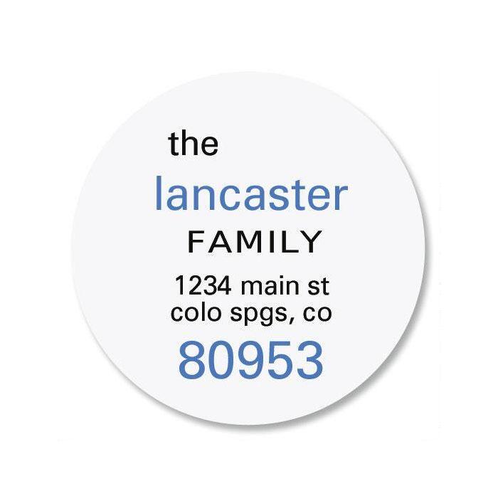 Family Name Round Return Address Labels