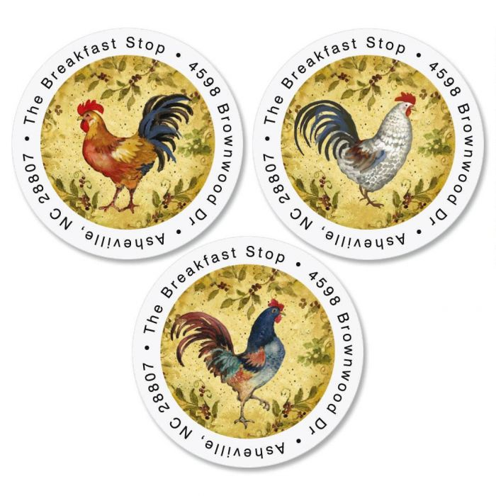 Provence Rooster Round Return Address Labels  (3 Designs)