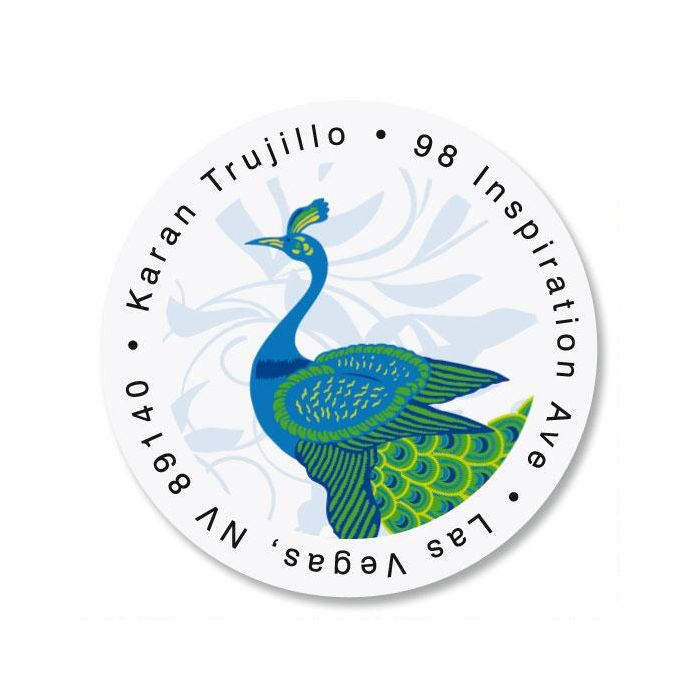Peacock Luxe Round Return Address Labels