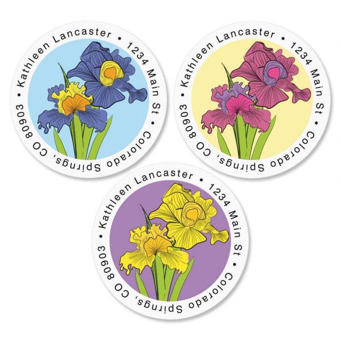 Iris Round Return Address Labels  (3 colors)