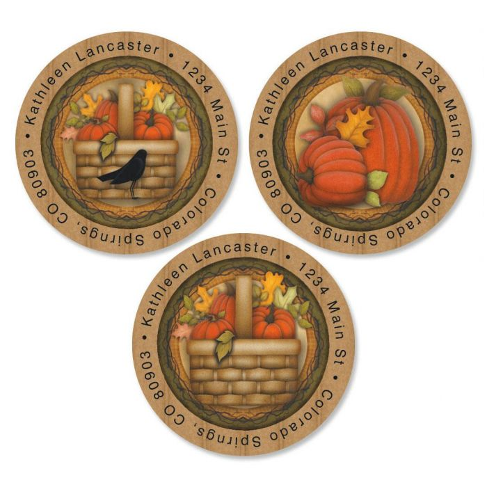 Pumpkin  Round Return Address Labels  (3 Designs)
