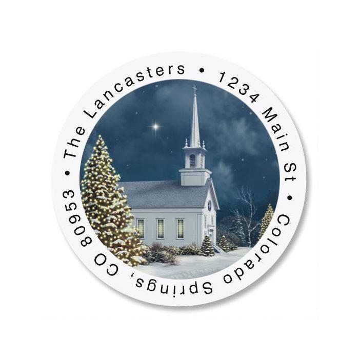 Church at Christmas Round Return Address Labels