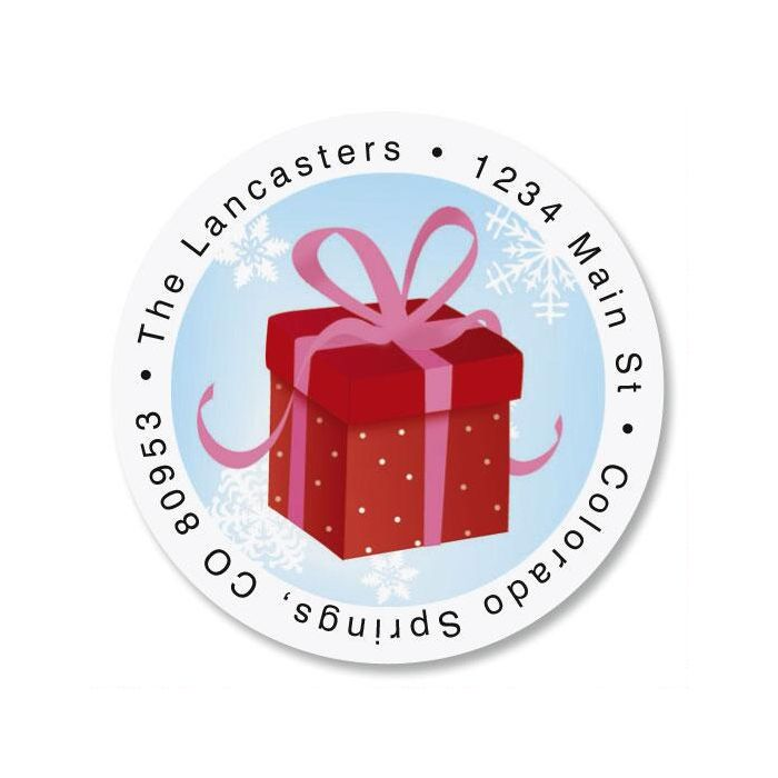 Christmas Silhouette Round Return Address Labels