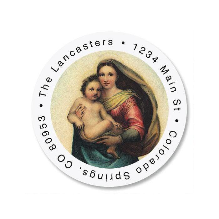 Madonna & Child Round Return Address Labels