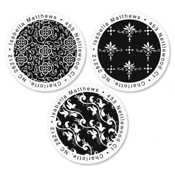 Black Elegance Round Return Address Labels  (3 Designs)