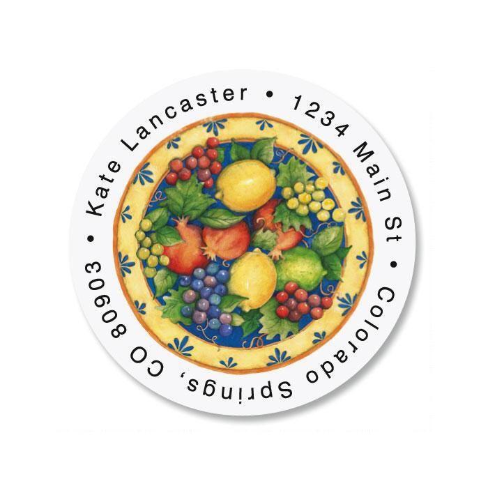 Tuscan Fruit Round Return Address Labels
