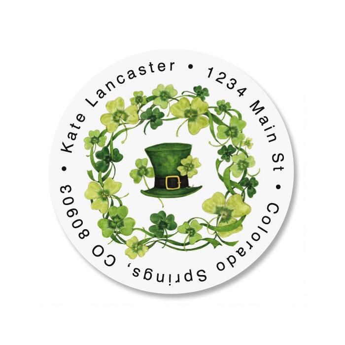 St. Pat's Day Round Return Address Labels