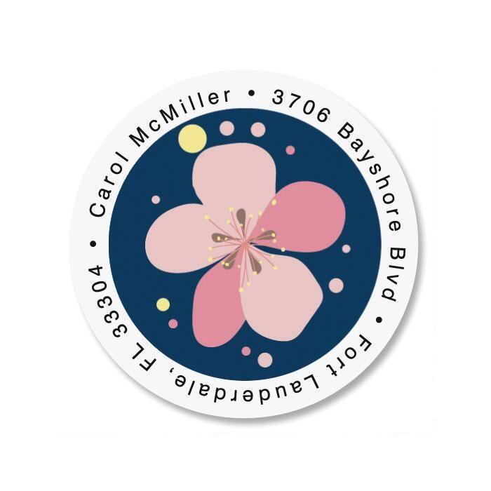 Pink Blossom Round Return Address Labels