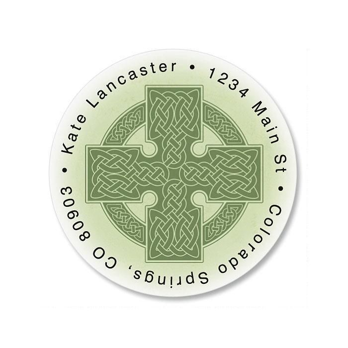 Celtic Cross Round Return Address Labels