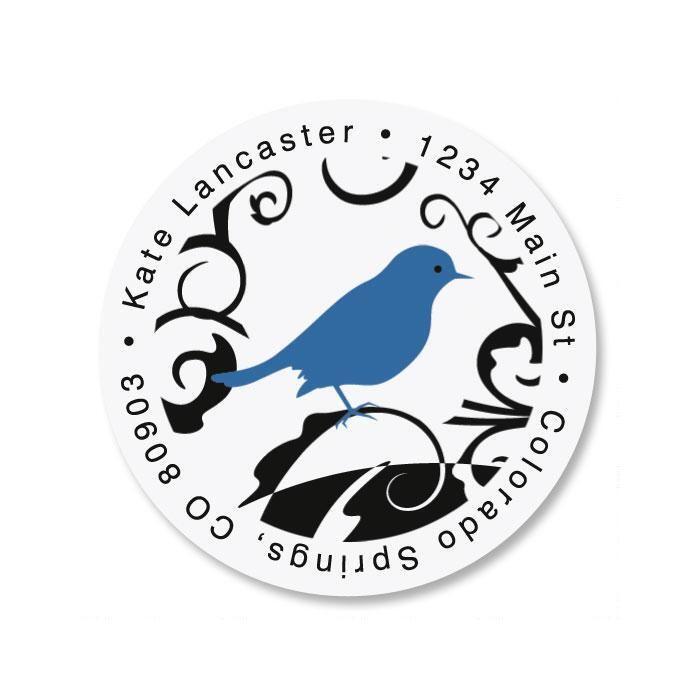 Distinctive Bird Round Return Address Labels
