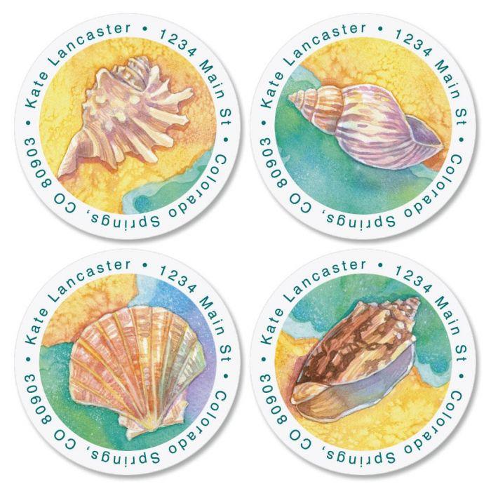 Ocean Offerings Round Return Address Labels  (4 Designs)