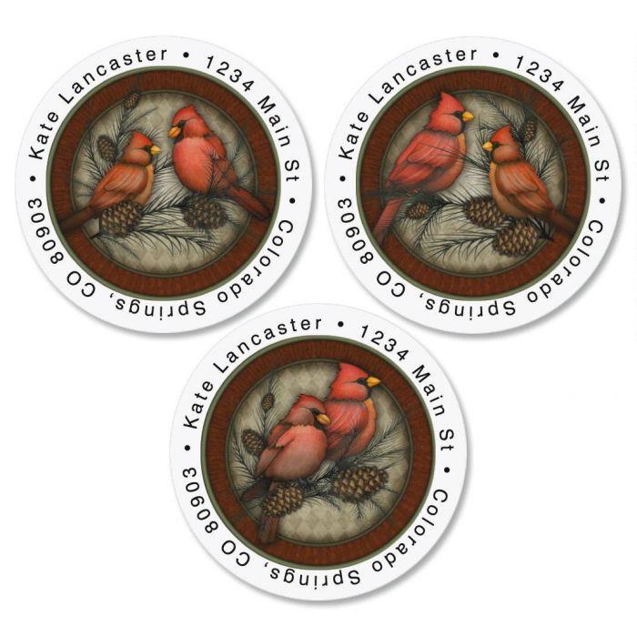 Red Cardinals Round Return Address Labels  (3 Designs)