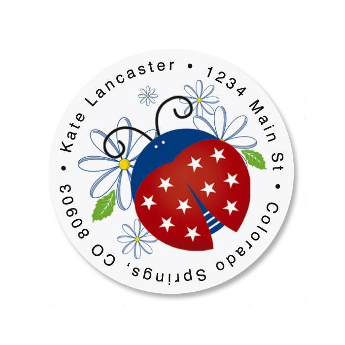 Patriotic Ladybug Round Return Address Labels