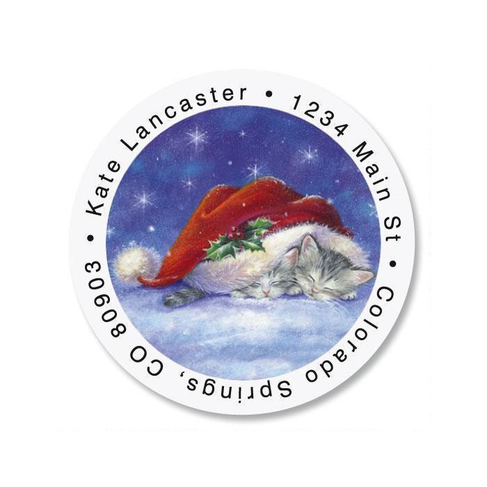 Santa Hat Snuggles Round Return Address Labels