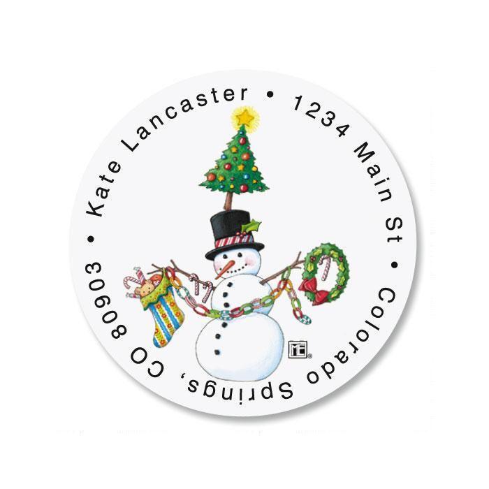 Christmas Circus Round Return Address Labels