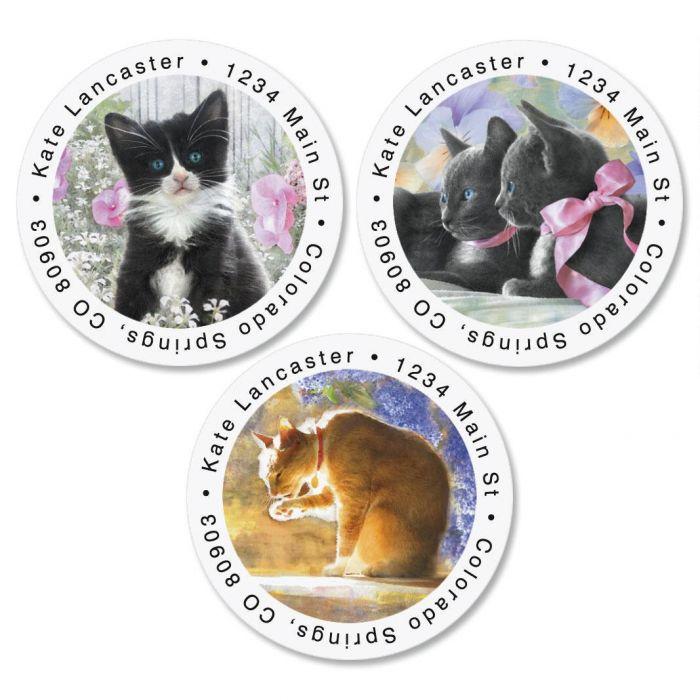 Purrfectly Feline Round Return Address Labels