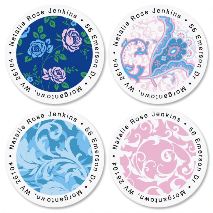 Tranquil Turquoise Round Return Address Labels  (4 Designs)