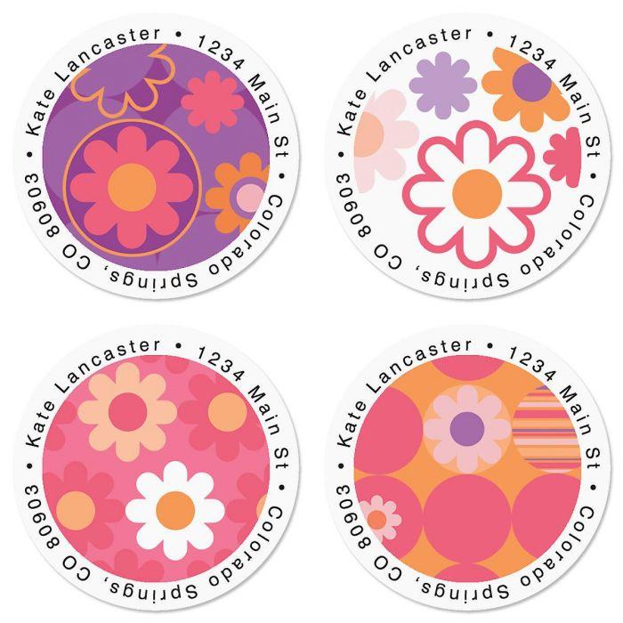 Daisy Delight Round Return Address Labels  (4 Designs)