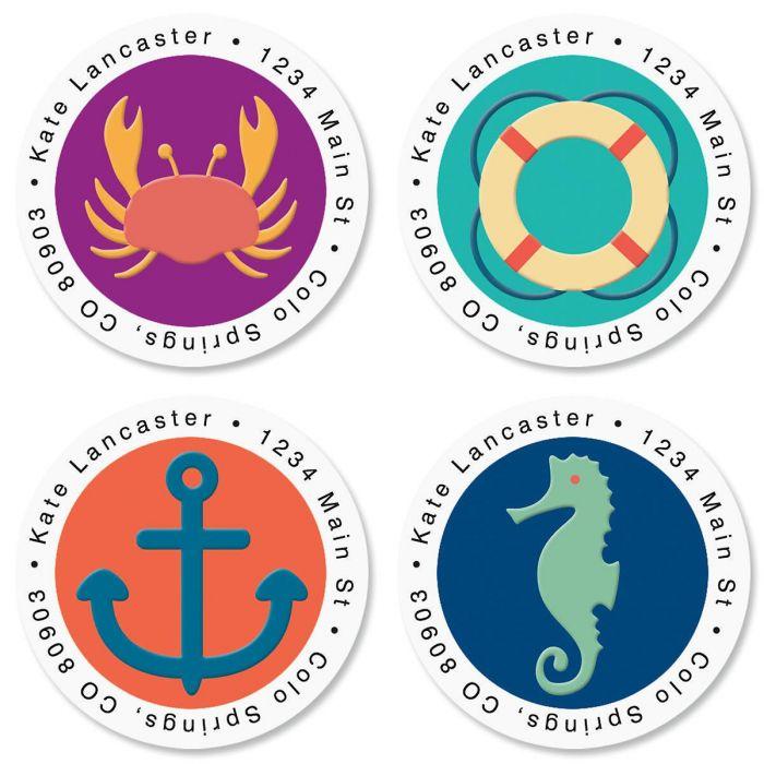 Coastal Round Return Address Labels  (4 Designs)