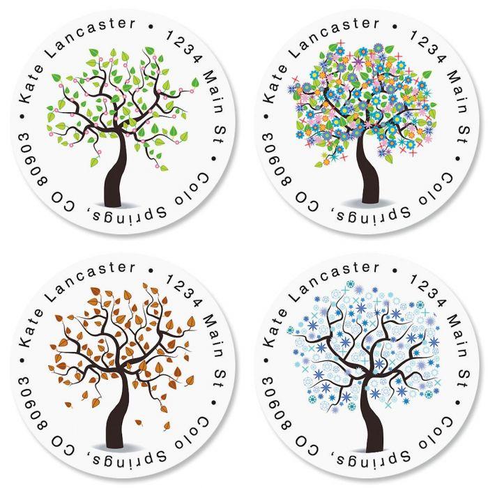 Seasons of Trees Round Return Address Labels  (4 Designs)