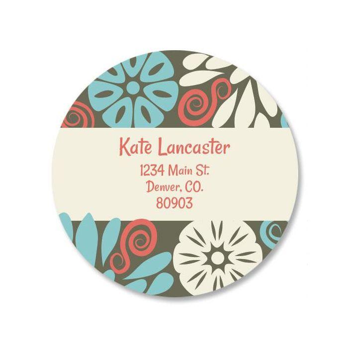Vintage Bloom Round Return Address Labels