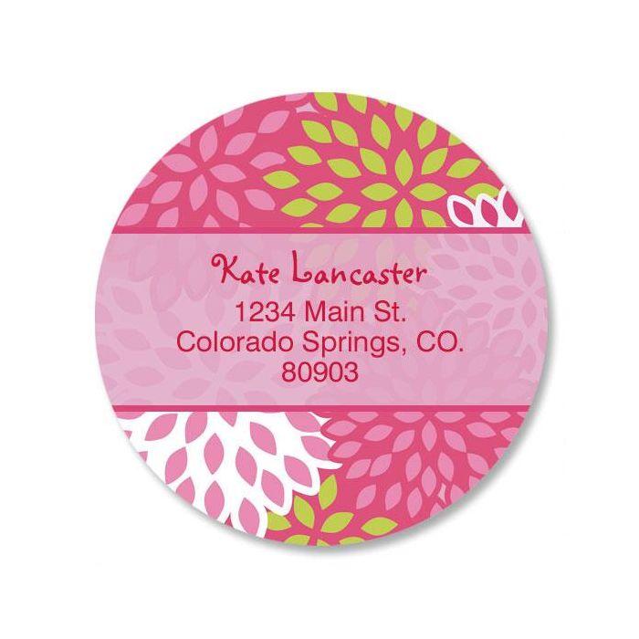 Pretty Pink Round Return Address Labels