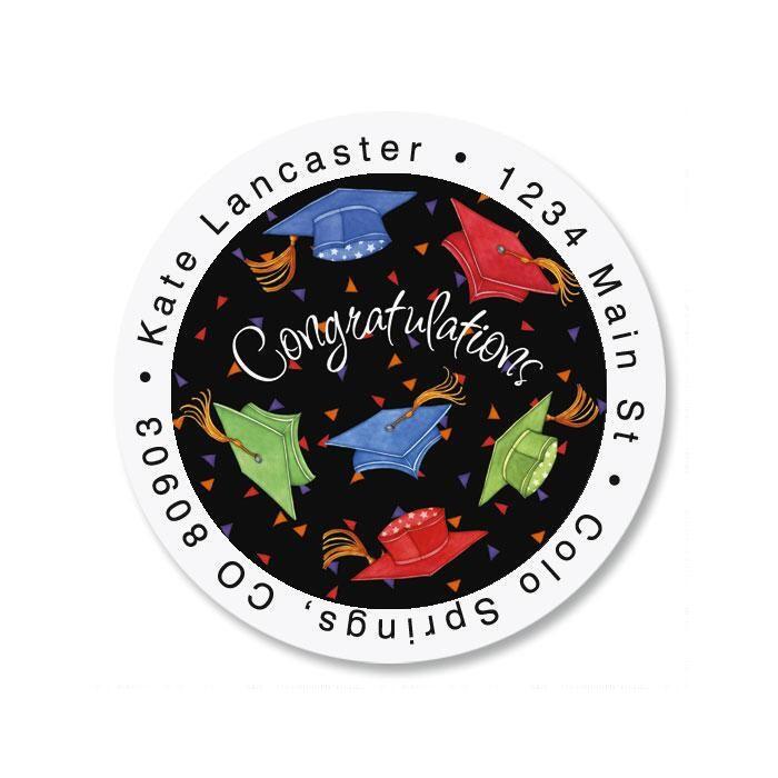 Cap Celebration Round Return Address Labels